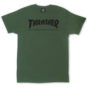 スラッシャー スケートボード マガジン ロゴ 半袖Tシャツ アーミーグリーン オリーブ THRASHER SKATEBOARD MAGAZINE LOGO S/S T SHIRT ARMY GREEN|americanrushstore