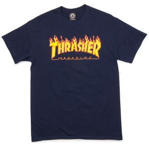 スラッシャー マガジン フレイム ロゴ 半袖Tシャツ ネイビー ファイヤーパターン THRASHER  MAGAZINE FLAME LOGO S/S T SHIRT NAVY|americanrushstore