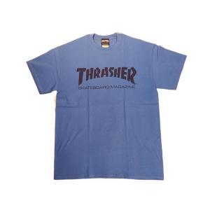 THRASHER / スラッシャー TH8101 ロゴTシャツ ROYAL / BLACK|americanrushstore