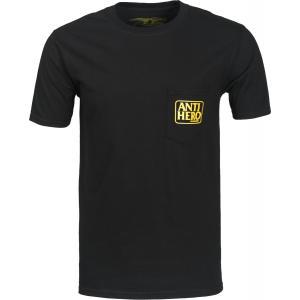アンチヒーロー リザーブ ポケット 半袖 Tシャツ スケート ブラック ANTIERO RESERVE POCKET T-SHIRT BLACK|americanrushstore