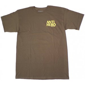 アンチヒーロー 半袖 Tシャツ ミリタリーグリーン イエロー メンズ アンタイヒーロー スケート ANTI HERO LIL BLACKHERO S/S T-SHIRT MILITARY GREEN/YELLOW|americanrushstore