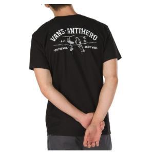 バンズ メンズ レディース 半袖 Tシャツ ブラック 黒 アンタイ アンチ ヒーロー コラボ Wネーム VANS×ANTI HERO ON THE WIRE S/S T-SHIRT BLACK VN0A3WAQBLK|americanrushstore