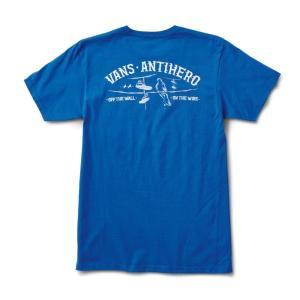 バンズ メンズ レディース 半袖 Tシャツ ロイヤル ブルー アンタイ アンチ ヒーロー コラボ VANS×ANTI HERO ON THE WIRE S/S T-SHIRT R.BLUE VN0A3WAQRYB|americanrushstore