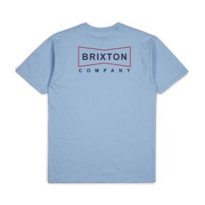 ブリクストン メンズ 半袖 Tシャツ ライト ブルー スタンダード フィット BRIXTON WEDGE S/S T LIGHT BLUE STANDARD FIT|americanrushstore
