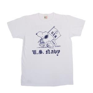 BUZZ RICKSON'S × PEANUTS / バズリクソンズ BR76844 U.S. NAVY 半袖 Tシャツ SNOOPY スヌーピー 105 OFF WHITE|americanrushstore