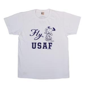 BUZZ RICKSON'S × PEANUTS / バズリクソンズ BR76843 FLY USAF 半袖 Tシャツ SNOOPY スヌーピー 105 OFF WHITE|americanrushstore