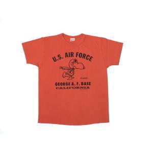 BUZZ RICKSON'S × PEANUTS / バズリクソンズ BR76784 U.S.AIR FORCE 半袖 Tシャツ SNOOPY スヌーピー 東洋エンタープライズ 165 RED レッド|americanrushstore