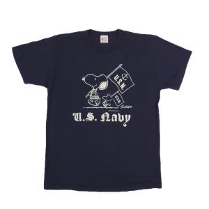 BUZZ RICKSON'S × PEANUTS / バズリクソンズ BR76844 U.S. NAVY 半袖 Tシャツ SNOOPY スヌーピー 128 NAVY|americanrushstore