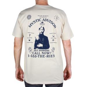 セオリーズ 半袖 Tシャツ クリーム / ネイビー メンズ レディース スケボー スケート ラスプーチン THEORIES MYSTIC ADVISOR S/S TEE CREAM / NAVY|americanrushstore