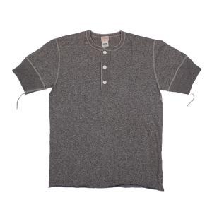 HEALTHKNIT / ヘルスニット 947 VINTAGE HEATHER SLAB 半袖 ヘンリーネックTシャツ CHARCOAL GREY|americanrushstore