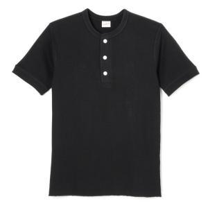 ヘルスニット ベーシックワッフル ヘンリーネック 半袖 Tシャツ ブラック HEALTHKNIT 601S BASIC WAFFLE S/S T-SHIRT BLACK|americanrushstore