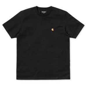 カーハート メンズ チェイス 半袖 Tシャツ ブラック/ゴールド ルーズフィット CARHARTT WIP S/S CHASE T-SHIRT BLACK/GOLD I026391|americanrushstore