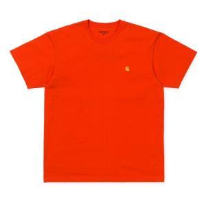 カーハート メンズ チェイス 半袖 Tシャツ ペッパー/ゴールド ルーズフィット CARHARTT WIP S/S CHASE T-SHIRT PEPPER/GOLD I026391 americanrushstore