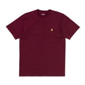 カーハート メンズ チェイス 半袖 Tシャツ クランベリー/ゴールド ルーズフィット CARHARTT WIP S/S CHASE T-SHIRT CRANBERRY/GOLD I026391 americanrushstore