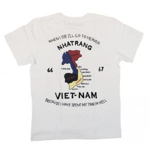 ヒューストン ベトT 半袖 ベトナムTシャツ ホワイト ベトナムマップ 虎 福 刺繍 HOUSTON S/S VIETNAM T-SHIRT MAP WHITE|americanrushstore