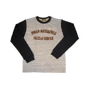 INDIAN MOTORCYCLE / インディアンモーターサイクル IM66356 ロングスリーブ 2トーンTシャツ 113 H.GREY|americanrushstore