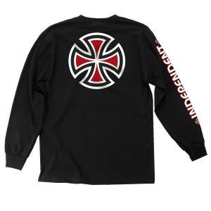 インデペンデント バー クロス 長袖 Tシャツ 袖プリント ロンT ブラック スケート INDEPENDENT BAR/CROSS L/S T BLACK|americanrushstore