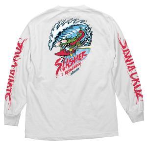 サンタクルーズ  ウェーブ スラッシャー 長袖 Tシャツ ホワイト ロンT メンズ スケートボード 袖プリント SANTA CRUZ WAVE SLASHER REGULAR L/S T WHITE americanrushstore