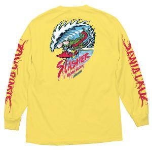 サンタクルーズ  ウェーブ スラッシャー 長袖 Tシャツ イエロー ロンT メンズ スケートボード 袖プリント SANTA CRUZ WAVE SLASHER REGULAR L/S T YELLOW americanrushstore