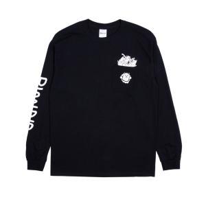 リップンディップ メンズ レディース ロンT 長袖 ポケット Tシャツ ブラック 黒 猫 スケート RIPNDIP NERMAMANIAC POCKET L/S T BLACK|americanrushstore