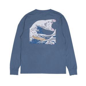 リップンディップ 長袖 Tシャツ ブルー 猫 ロンT メンズ レディース スケート RIPNDIP GREAT WAVE L/S T SLATE americanrushstore