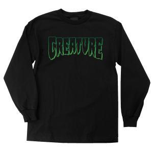 クリーチャー メンズ ロゴ アウトライン 長袖 Tシャツ ブラック 黒 スケボー スケートボード CREATURE LOGO OUTLINE REGULAR L/S T-SHIRT BLACK americanrushstore