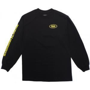 リアル スケートボーズ メンズ レディース 長袖 Tシャツ ブラック 黒 スケートボード REAL SKATEBOARDS REAL VS EVERYONE L/S T-SHIRT BLACK americanrushstore