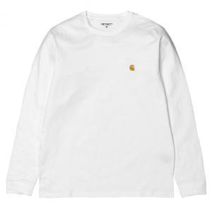 カーハート チェイス 長袖 Tシャツ ホワイト/ゴールド ルーズフィット ロンT CARHARTT WIP L/S CHASE T-SHIRT WHITE/GOLD I026392 americanrushstore
