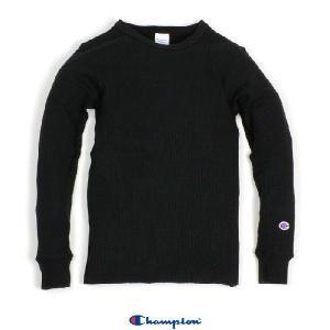 チャンピオン メンズ レディース サーマル 長袖 ロングスリーブ Tシャツ ブラック 黒 ワッフル CHAMPION THERMAL L/S T BLACK americanrushstore