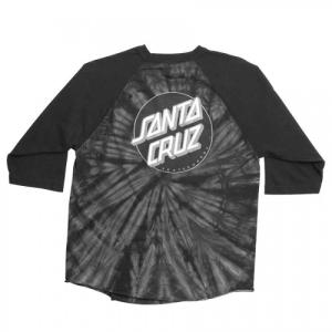 SANTA CRUZ / サンタクルーズ SMOKEY TIE DOT 3/4 SLEEVE ベースボールTシャツ ラグラン タイダイ SPIDER BLACK / BLACK|americanrushstore