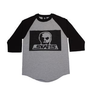 SKULL SKATES / スカルスケーツ BOX LOGO 七分袖 ベースボールTシャツ HEATHER GREY|americanrushstore