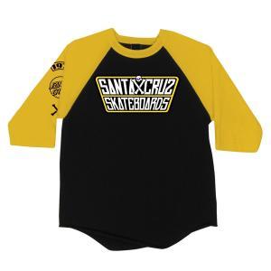SANTA CRUZ / サンタクルーズ JDOUBLE CROSSED RAGLAN 3/4 SLEEVE T SHIRT ラグラン ベースボール Tシャツ BLACK/GOLD ブラック/ゴールド|americanrushstore
