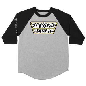 SANTA CRUZ / サンタクルーズ JDOUBLE CROSSED RAGLAN 3/4 SLEEVE T SHIRT ラグラン ベースボール Tシャツ ATHLETIC HEATHER/BLACK アスレチックヘザー/ブラック|americanrushstore