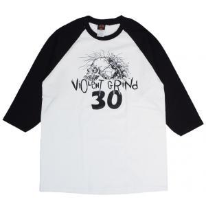 バイオレント グラインド 30周年 アニバーサリー ベースボール Tシャツ ホワイト ラグラン 七分袖 スケート VIOLENT GRIND 30TH ANNIVERSARY 3/4 T-SHIRT WHITE|americanrushstore