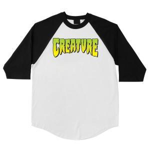 クリーチャー ロゴ ベースボール Tシャツ 3/4 ラグランスリーブ ホワイト/ブラック メンズ スケート CREATURE LOGO 3/4 RAGLAN WHITE/BLACK|americanrushstore