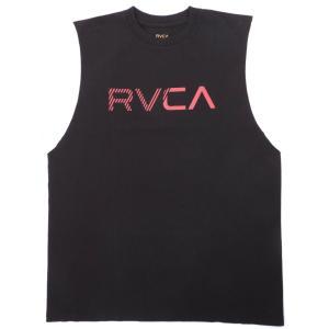 ルーカ メンズ レディース タンクトップ ブラック ノースリーブ ロゴ スタンダードフィット サーフ スケート RVCA BLINDED TANK BLACK AJ041-354|americanrushstore