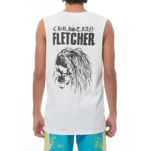 ルーカ クリスチャン フレッチャー スカル タンクトップ ホワイト ノースリーブ メンズ サーフ RVCA CHRISTIAN FLETCHER SKULL TANK TOP WHITE|americanrushstore