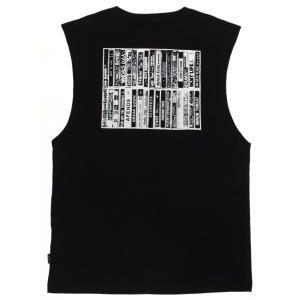 アフェンズ メンズ バンドカット Tシャツ ブラック タンクトップ ノースリーブ サーフ AFENDS CASSETTE BANDCUT T BLACK JM191095|americanrushstore