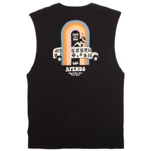 アフェンズ メンズ バンドカット Tシャツ ブラック タンクトップ ノースリーブ サーフ AFENDS TRIPPIN BANDCUT T BLACK JM192082|americanrushstore