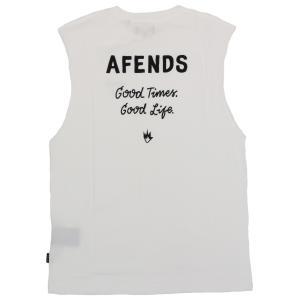 アフェンズ メンズ バンドカット Tシャツ ホワイト タンクトップ ノースリーブ スケート サーフ AFENDS GOOD TIMES GOOD LIFE BANDCUT T-SHIRT WHITE JM191094|americanrushstore