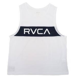 ルーカ メンズ レディース タンクトップ ホワイト メッシュ ロゴ カスタムフィット サーフ スケート RVCA DEALER TANK WHITE AJ041-357|americanrushstore