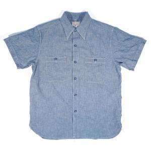 BUZZ RICKSON'S / バズリクソンズ BR35856 CHAMBRAY S/S WORK SHIRT 半袖 シャンブレーシャツ 半袖ワークシャツ 125 BLUE ブルー|americanrushstore