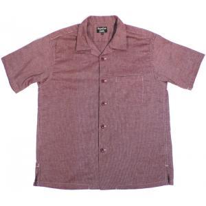 シュガーケーン ライト ジーンコード オープンシャツ 半袖 ワイン メンズ SUGARCANE JEAN CORD S/S OPEN SHIRT WINE|americanrushstore