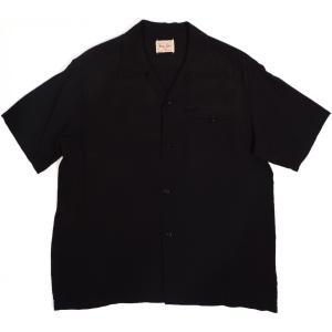 スタイルアイズ レーヨン ボーリング シャツ 無地 オープンカラーシャツ ブラック メンズ STYLE EYES RAYON BOWLING SHIRT BLACK americanrushstore
