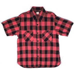 SUGARCANE / シュガーケーン SC37323 DOBBY PANE CHECK ドビー ペイン チェック S/S WORK SHIRT 半袖シャツ ワークシャツ 165 RED レッド americanrushstore