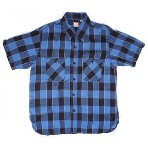 SUGARCANE / シュガーケーン SC37323 DOBBY PANE CHECK ドビー ペイン チェック S/S WORK SHIRT 半袖シャツ ワークシャツ 128 NAVY ネイビー americanrushstore