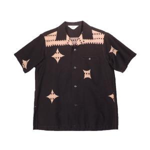 STAR OF HOLLYWOOD / スターオブハリウッド SH36161 CHECK & DIAMOND オープンカラーシャツ 東洋エンタープライズ 119 BLACK ブラック 送料無料|americanrushstore