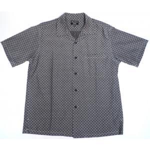 シュガーケーン ライト ジャガード オープンシャツ オープンカラーシャツ 半袖 ブラック メンズ SUGARCANE CHECKERED PATTERN JACQUARD OPEN SHIRT BLACK|americanrushstore