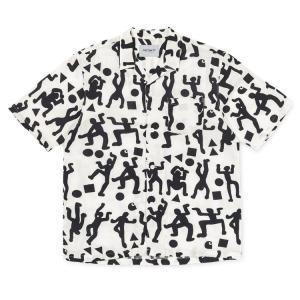 カーハート ワールドパーティー 半袖 オープンカラー シャツ ホワイト/ブラック メンズ CARHARTT WIP S/S WORLD PARTY SHIRT WHITE/BLACK I024569 送料無料 americanrushstore