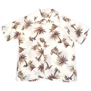 サンサーフ メンズ 半袖 レーヨン ハワイアンシャツ SUN SURF S/S RAYON HAWAIIAN SHIRT STUDDED WITH PALM TREE AND PINEAPPLE SS38032 OFF WHITE 送料無料|americanrushstore